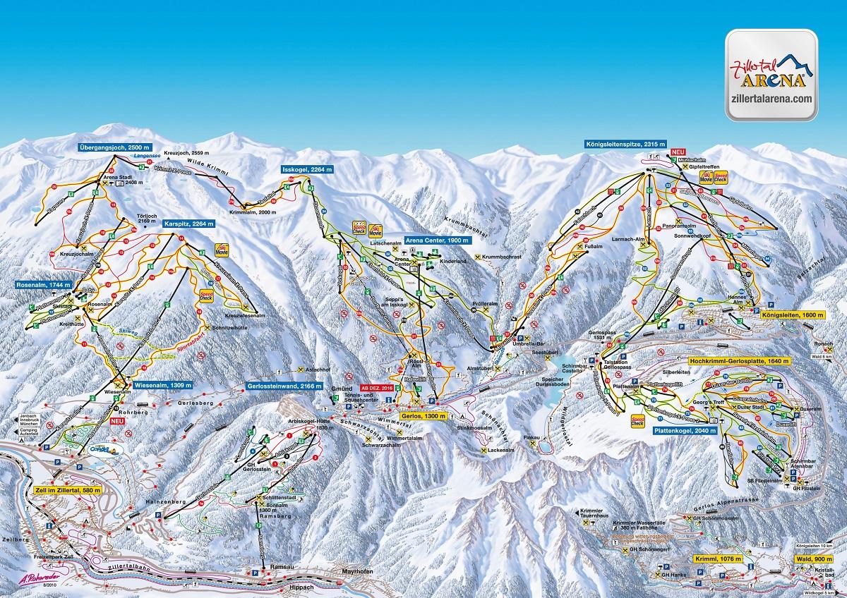 Zillertal Arena wyciagi mapa
