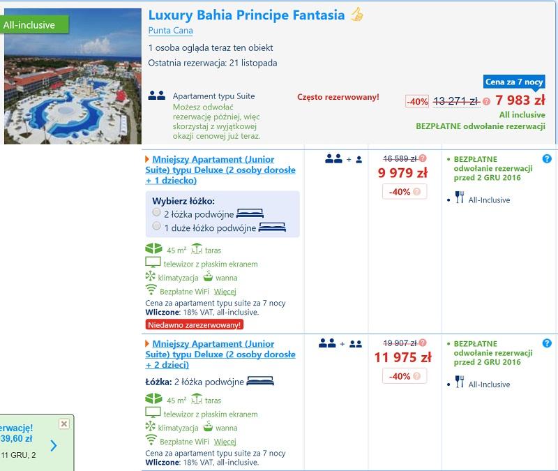 luxury bahia principe fantasia ceny hotel all inclusive dominikana aquapark dla dzieci
