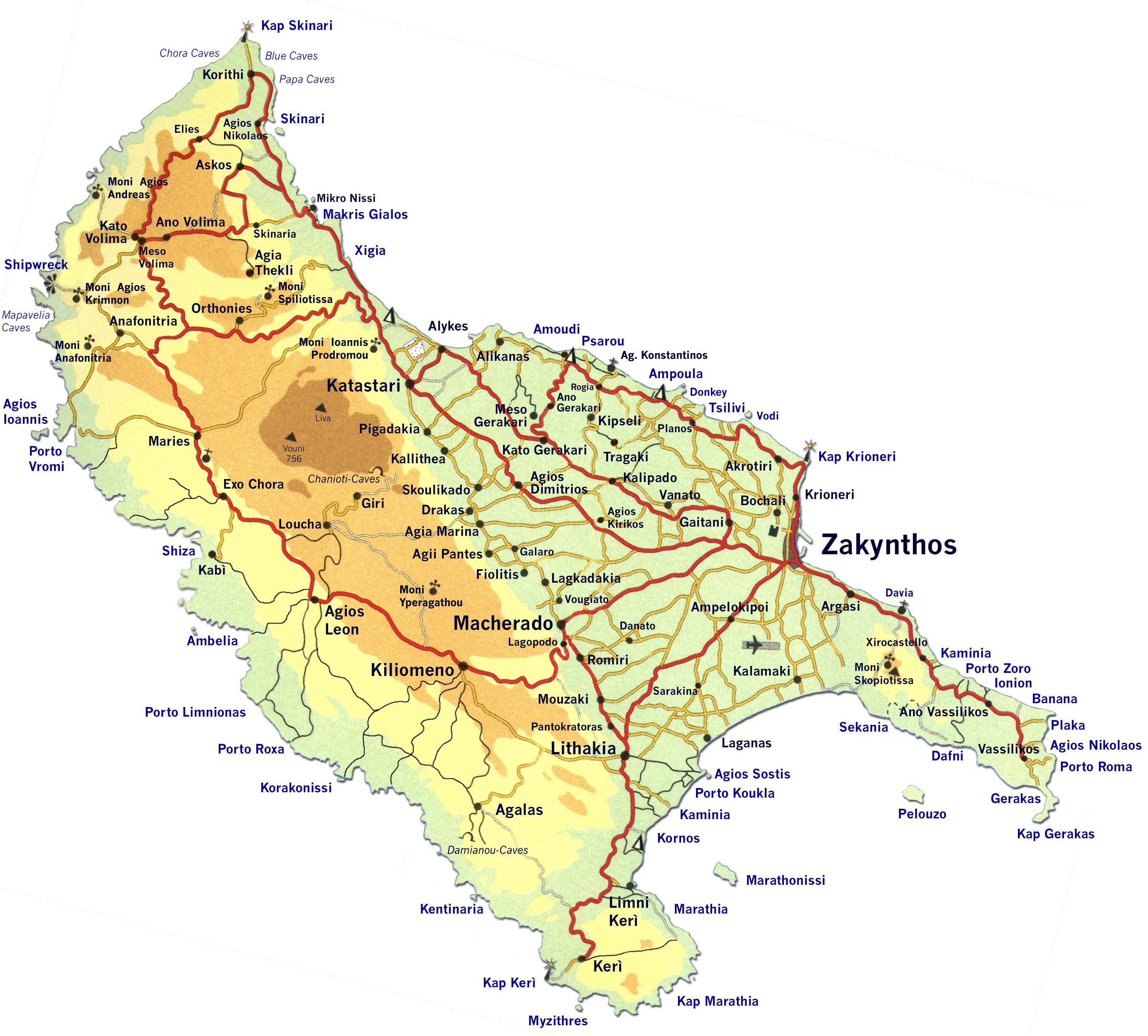 mapa Zakyntos drogi turystyczne atrakcje