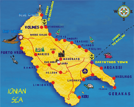 turystyczna mapa Zakynthos Grecja atrakcje