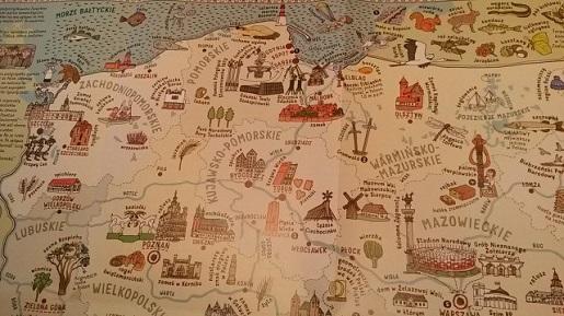 Polska-atrakcje dla dzieci-mapa obrazkowa