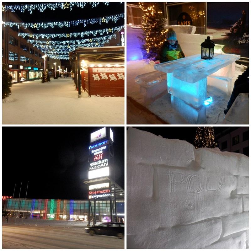 rovaniemi ulice ozdoby rzeżby z lodu