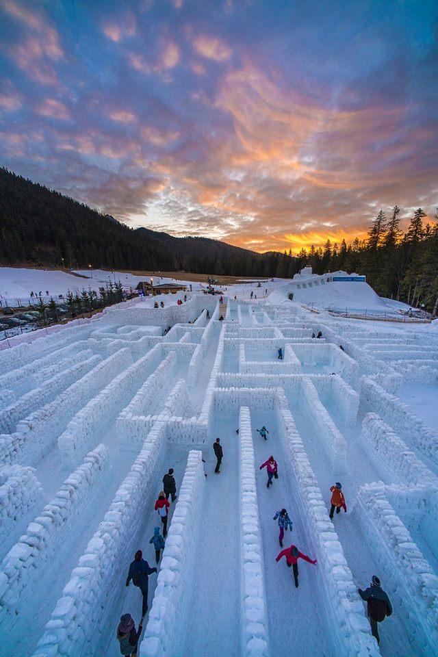 zakopane labirynt z lodu śniegu 2018 zima