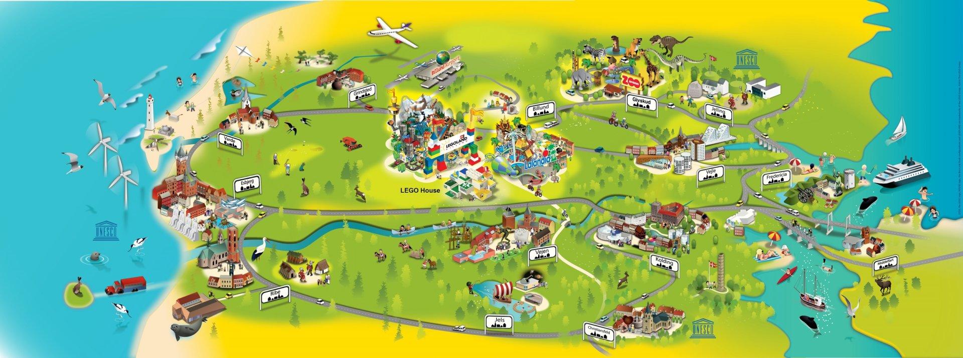 atrakcje okolice LEGOLAND Dania mapa co zobaczyć z dzieckiem 2019 a
