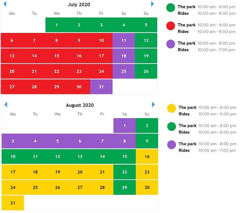 legoland- godziny otwarcia 2020 - lipiec sierpień