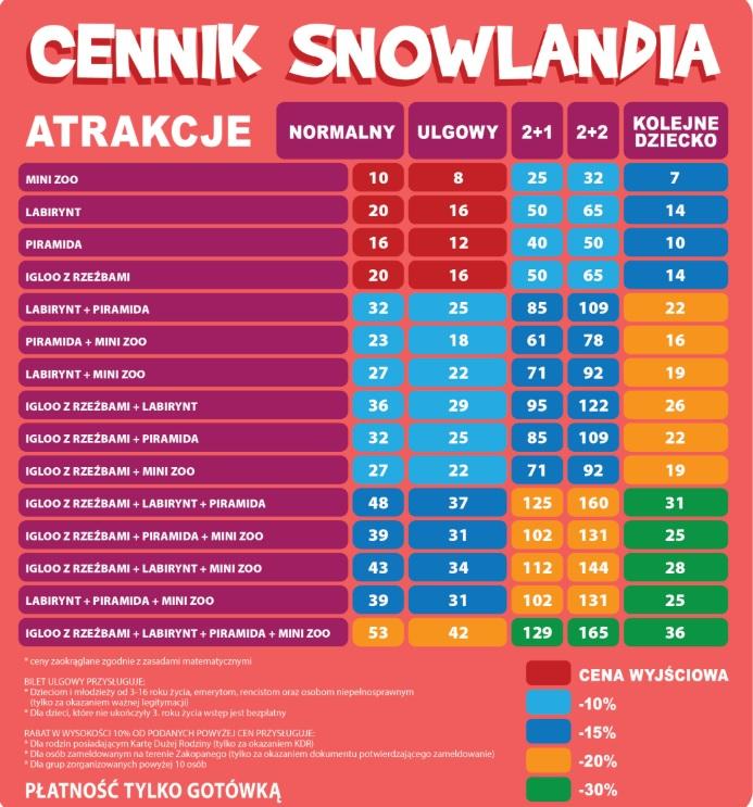 śnieżny labirynt zakopane cennik biletów opinie
