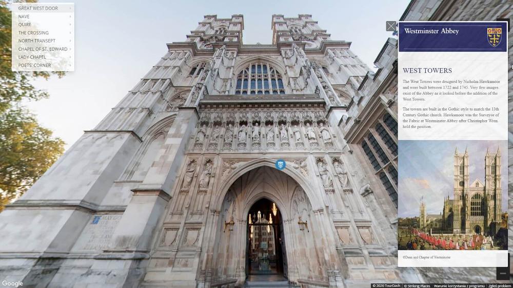30 budowli, które można zwiedzić bez wychodzenia z domu opactwo westminsterskie