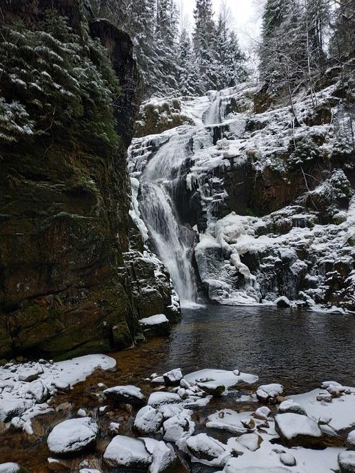Wodospadu Kamieńczyka Karkonosze atrakcje dla dzieci zima
