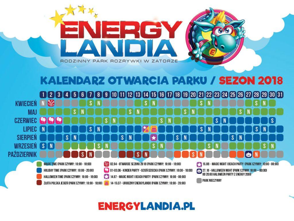 Energylandia Kalendarz Otwarcia 2018