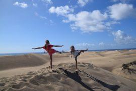 Gran Canaria wydmy Dunas de Maspalomas z dziećmi