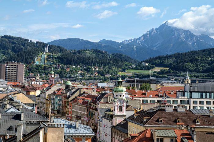 Innsbruck widok z wieży na skocznię