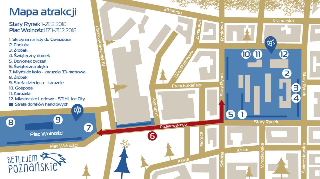 mapa Jarmark Bożonarodzeniowy Poznań 2018 lokalizacja gdzie