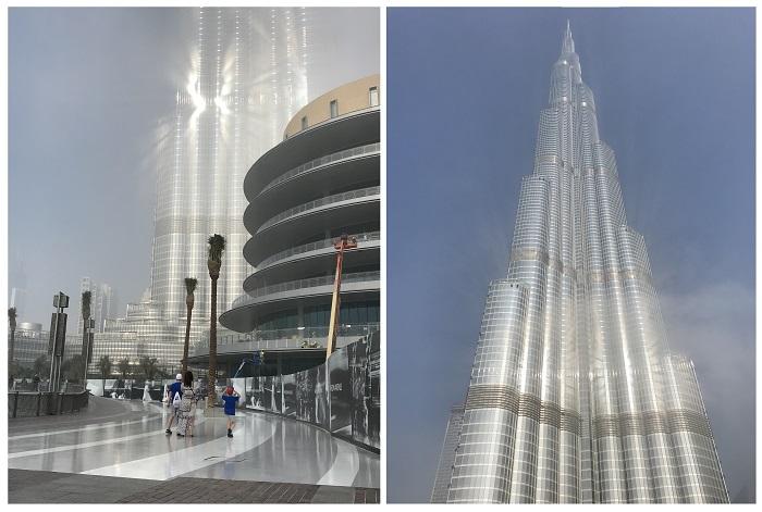 burj khalifa we mgle widok opinie taras z dzieckiem