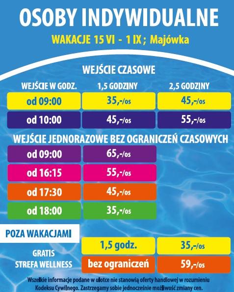 cennik aquapark jarosławiec 2019