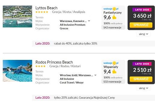 cennik grecja wakacje 2020 opinie