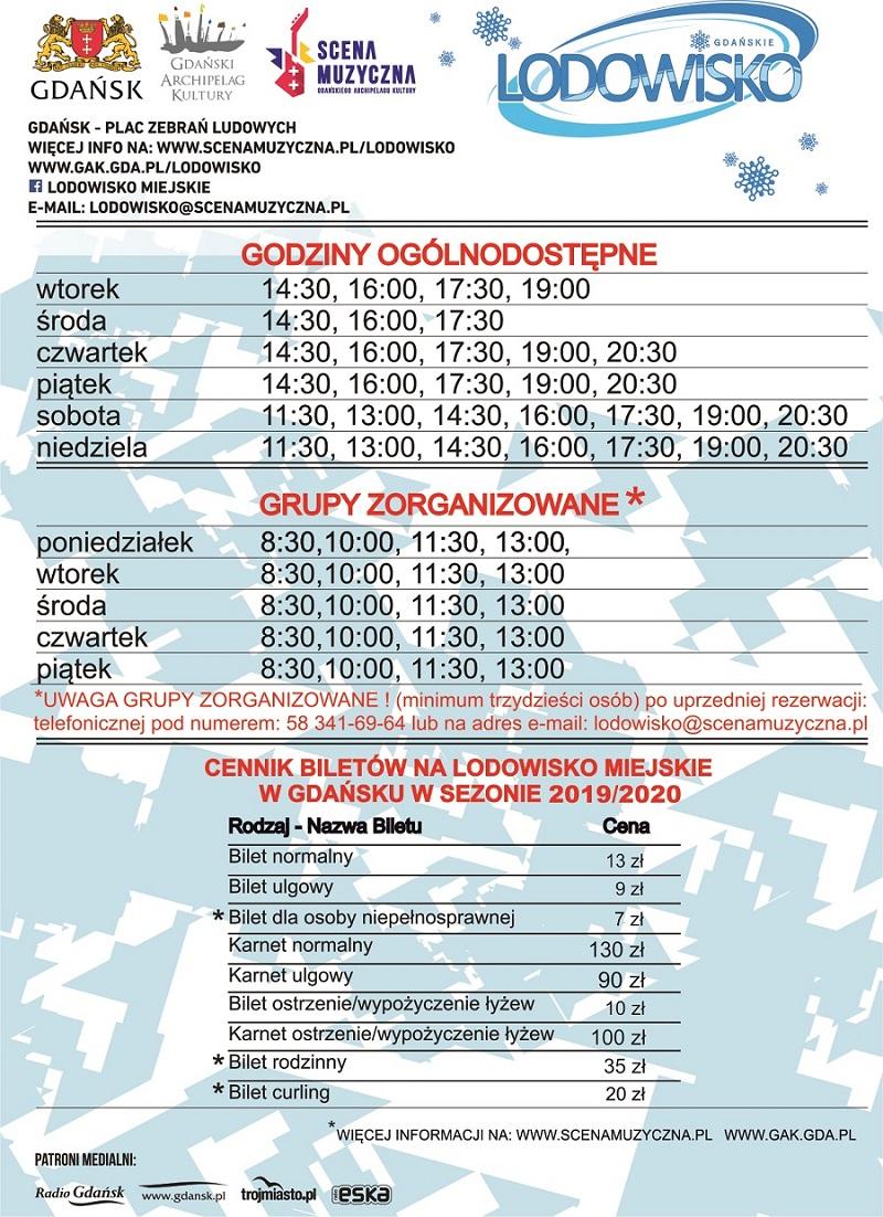 ceny lodowisko Gdańsk 2019 2020 godziny otwarcia
