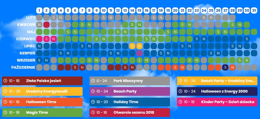 energylandia 2018 godziny otwarcia kalendarz