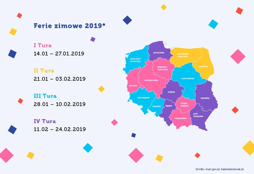 ferie zimowe 2019 terminy kalendarz