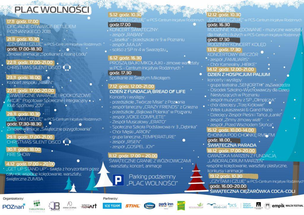 jarmark bożonarodzeniowy Poznań 2019 program atrakcji