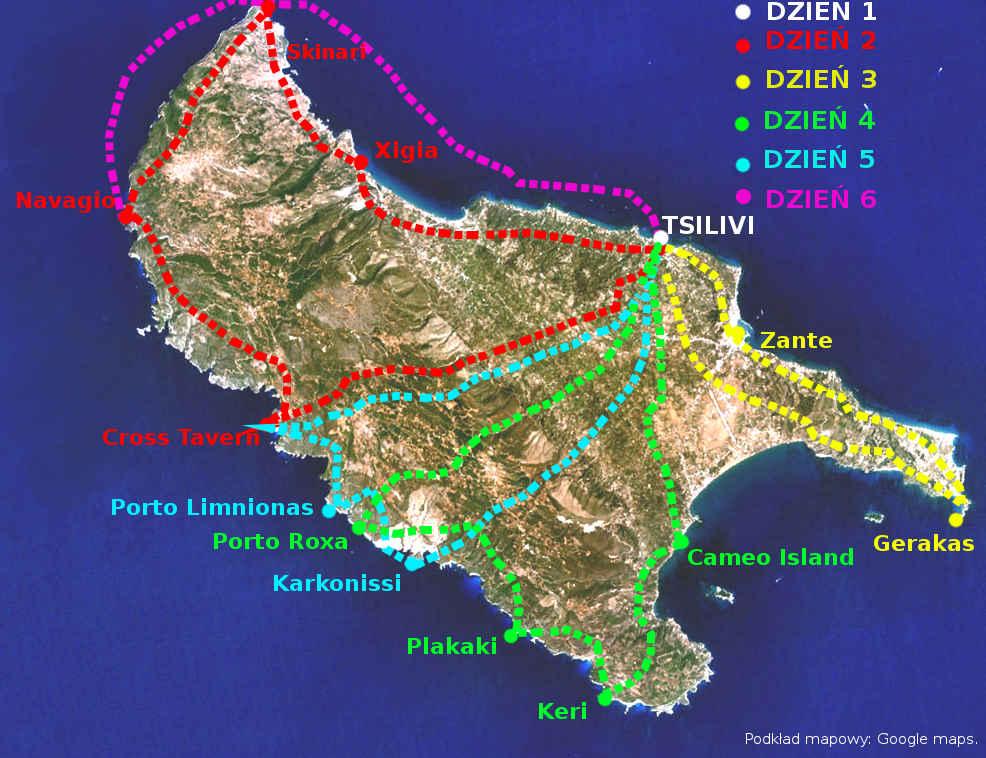 mapa Zakynthos Grecja trasy samochodowe