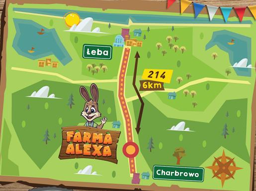 mapa dojazdu farma alexa łeba atrakcje dla dzieci