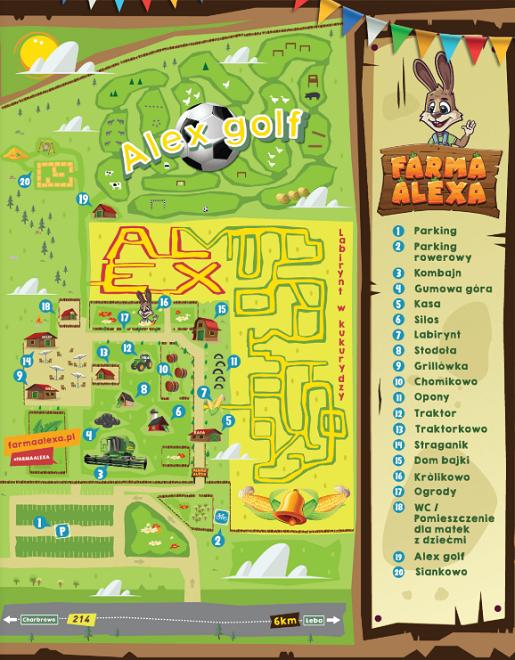 mapa farma alexa łeba atrakcje dla dzieci