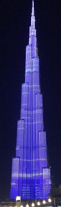 najwyższy budynek na świecie nocą Dubaj Burdż Kalifa