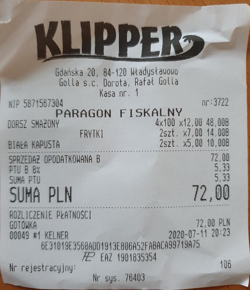 paragon ceny nad morzem dorsz ryby ceny jedzenia w restauracjach opinie