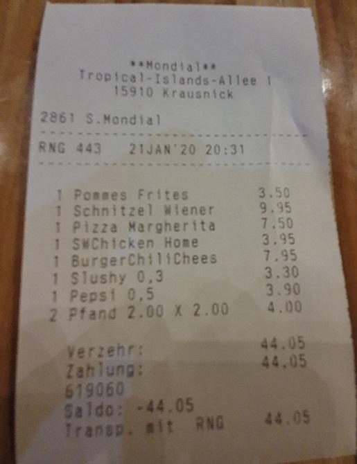 rachunek za jedzenie tropikalna wyspa opinie ceny