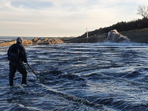 szerokie plaże nad Bałtykiem - poławiacze bursztynu Półwysep Helski refulacja (3)