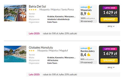wakacje majorka hiszpania hotele z dziecmi 2020